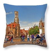 Historic Bruges Throw Pillow