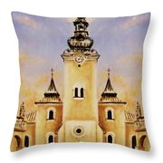 Historic Church And Town Square, Graphic Work From Painting. Throw Pillow