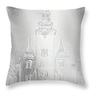 Historic Church And Town Square, Graphic Work From Painting. Metal Effect. Throw Pillow