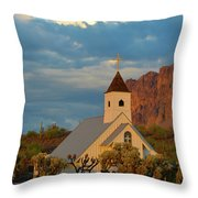 Historic Church In Superstition Mountain State Park Throw Pillow