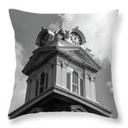 Historic Courthouse Steeple In Bw Throw Pillow by Doug Camara
