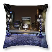 Historic District Winter Scene Throw Pillow
