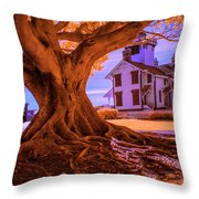 Historic Fermin Point Lighthouse In Infrared Throw Pillow