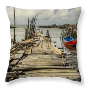 Historic Fishing Pier In Portugal I Throw Pillow