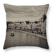 Historic Haarlem, Netherlands Bw Sephia Throw Pillow