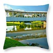 Historic Halls Mill Bridge Reflections Throw Pillow