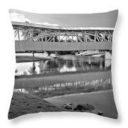 Historic Halls Mill Bridge Reflections Black And White Throw Pillow