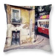 Historic Lisbon Tram Throw Pillow