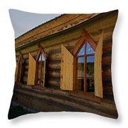 Historic Log Church Throw Pillow