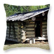 Historic Log Trappers Cabin Throw Pillow