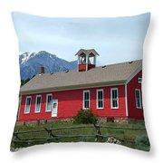 Historic Maysville School In Colorado Throw Pillow
