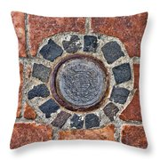 Historic Pavement Detail With Hungarian Town Seal Throw Pillow