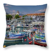 Historic Port Of Nice, France Throw Pillow