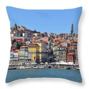 Historic Porto Riverfront Throw Pillow