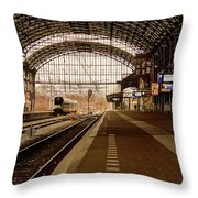 Historic Railway Station In Haarlem The Netherland Throw Pillow