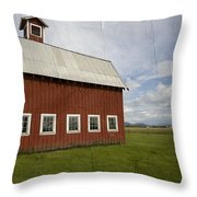 Historic Red Barn Throw Pillow by Bonnie Bruno