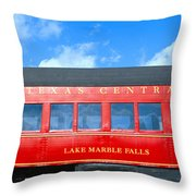 Historic Red Passenger Car, Austin & Throw Pillow
