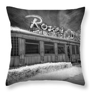 Historic Rosie's Diner In Black And White Infrared Throw Pillow