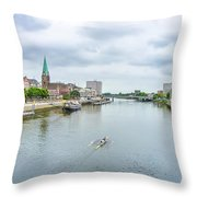 Historic Town Of Bremen And Weser River Throw Pillow