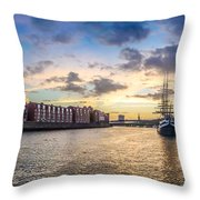 Historic Town Of Bremen With Weser River Throw Pillow