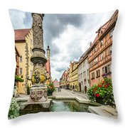 Historic Town Of Rothenburg Ob Der Tauber Throw Pillow