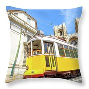 Historic Tram And Lisbon Cathedral Throw Pillow