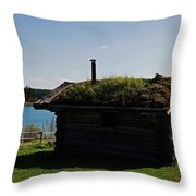 Historic Trappers Log Cabin Throw Pillow