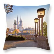 Historic Zagreb Towers Sunrise View Throw Pillow