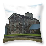 Historical Barron Wheat Flour Mill In Oakesdale Wa Throw Pillow