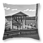 History At The Bend Black And White Throw Pillow
