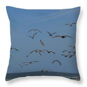 Hitchcock Comes To Long Beach, New York Throw Pillow