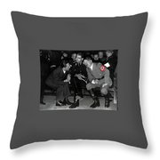 Hitler Conferring With Joseph Goebbels Circa 1936 Color Added 2016 Throw Pillow