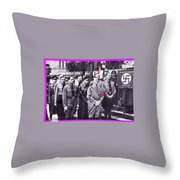 Hitler With Nazi Entourage Hess And Himmler In 2nd Row Circa 1935 Color Added 2016 Throw Pillow
