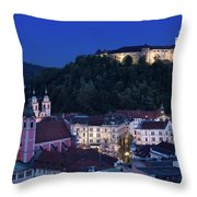 Hlltop Ljubljana Castle Overlooking The Old Town Of Ljubljana Ca Throw Pillow