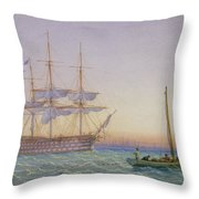 Hm Frigates At Anchor Throw Pillow by John Joy