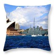Hmas Adelaide Helps Sydney Celebrate Throw Pillow