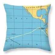 H.m.s. Beagle Course To Galapagos Throw Pillow