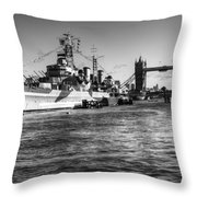 Hms Belfast And Tower Bridge 2 In Black And White Throw Pillow
