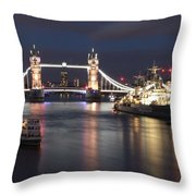 Hms Belfast And Tower Bridge Throw Pillow