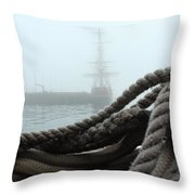 Hms Bounty In The Eastport Fog Throw Pillow