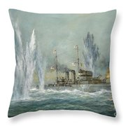 Hms Exeter Engaging In The Graf Spree At The Battle Of The River Plate Throw Pillow by Richard Willis