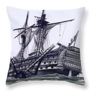 Hms Victory After The Battle Of Trafalgar, With Mizzen Topmast Shot Away Throw Pillow