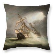 H.m.s. Victory In Full Sail And In A Squall Throw Pillow