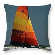 Hobie Cat In Surf Throw Pillow