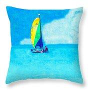 Hobie Sailing Off Lido Beach Coast Throw Pillow