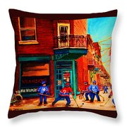 Hockey At Wilenskys Corner Throw Pillow