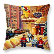 Hockey Fever Hits Montreal Bigtime Throw Pillow
