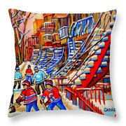 Hockey Game Near The Red Staircase Throw Pillow