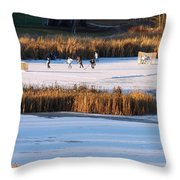 Hockey Game Throw Pillow