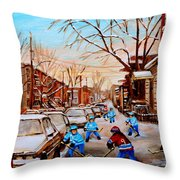 Hockey Gameon Jeanne Mance Street Montreal Throw Pillow by Carole Spandau